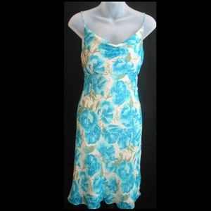 100% SILK Ann Taylor blue floral dress, NWT